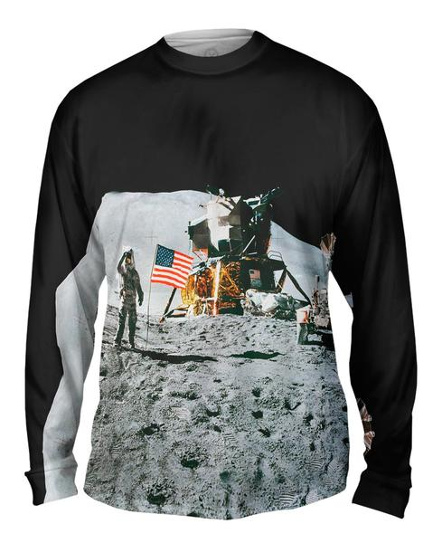 Apollo 15 Flag On Moon Space Mens Long Sleeve