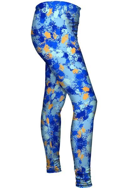 Paint Splatter Madness Blue Womens Leggings