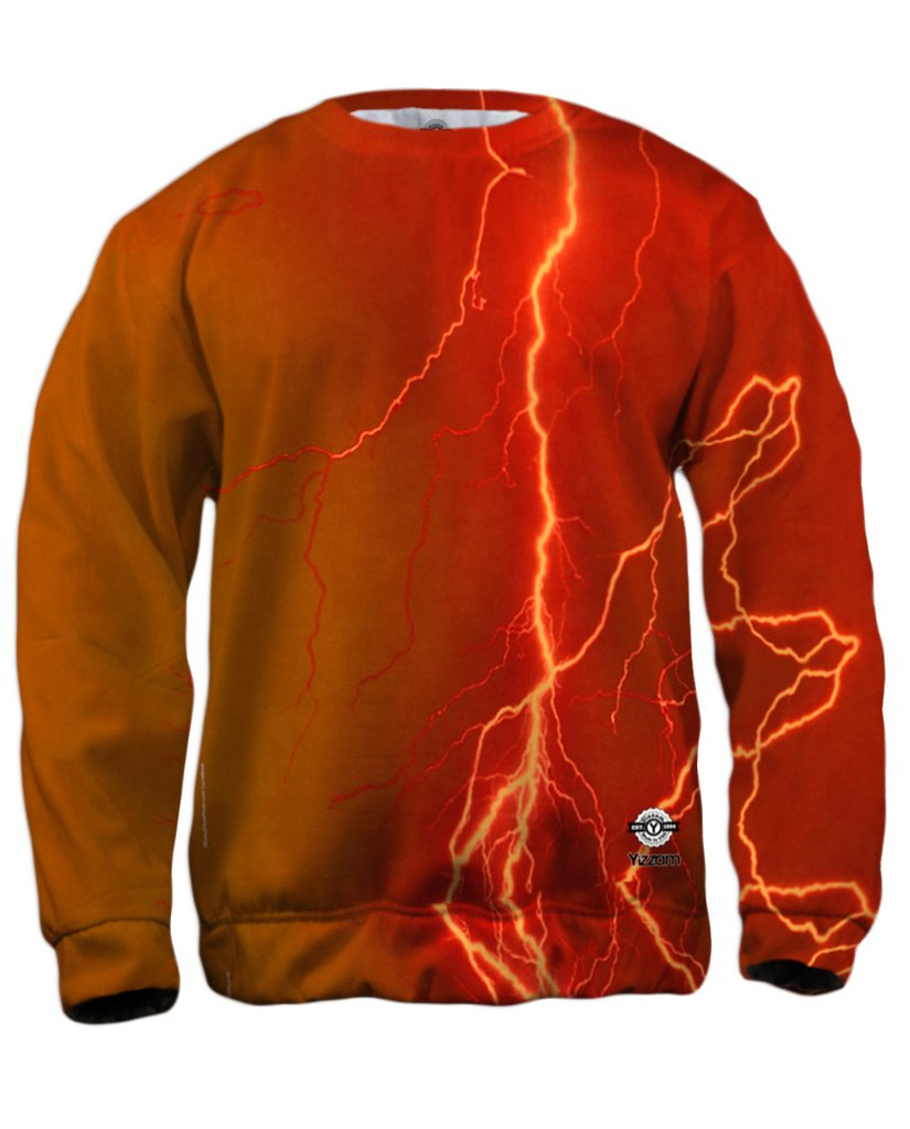 Lightning Storm Orange Mens Sweatshirt