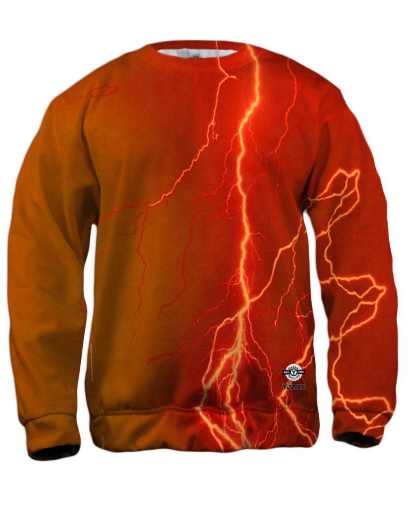 Lightning Storm Orange Mens Sweatshirt