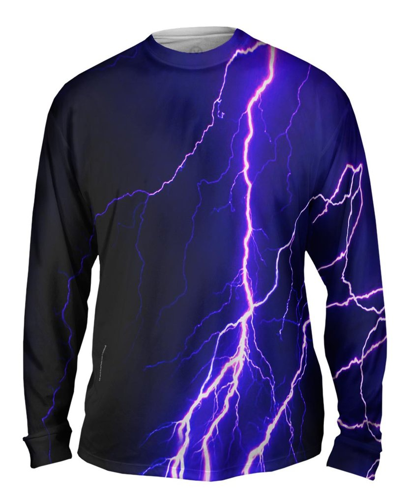 Violet Lightning Storm Mens Long Sleeve Sweatshirt