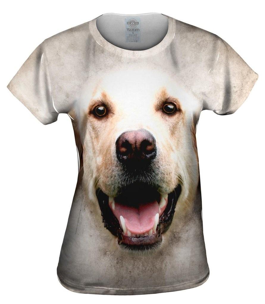 Happy Golden Labrador Dog Face Womens Top