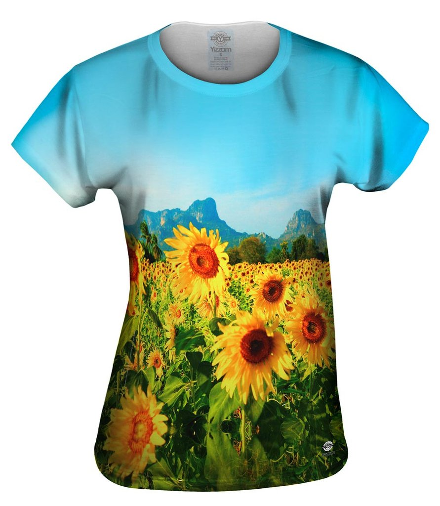 Sunflowers Mountain View Thailand Womens Tshirt