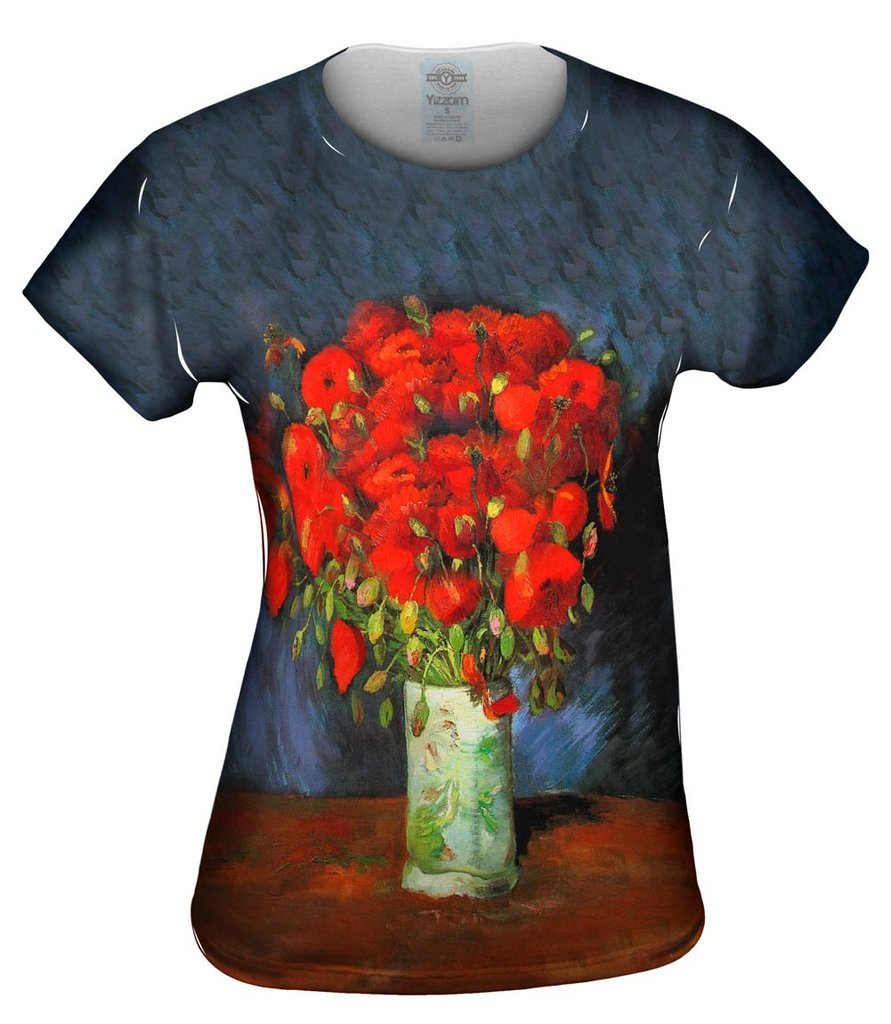 Van Gogh Vase with Red Poppies Womens Tshirt