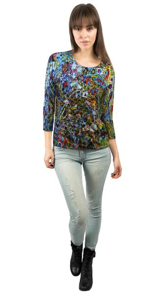 Flower Paint Balls Collage womens 3/4 sleeve