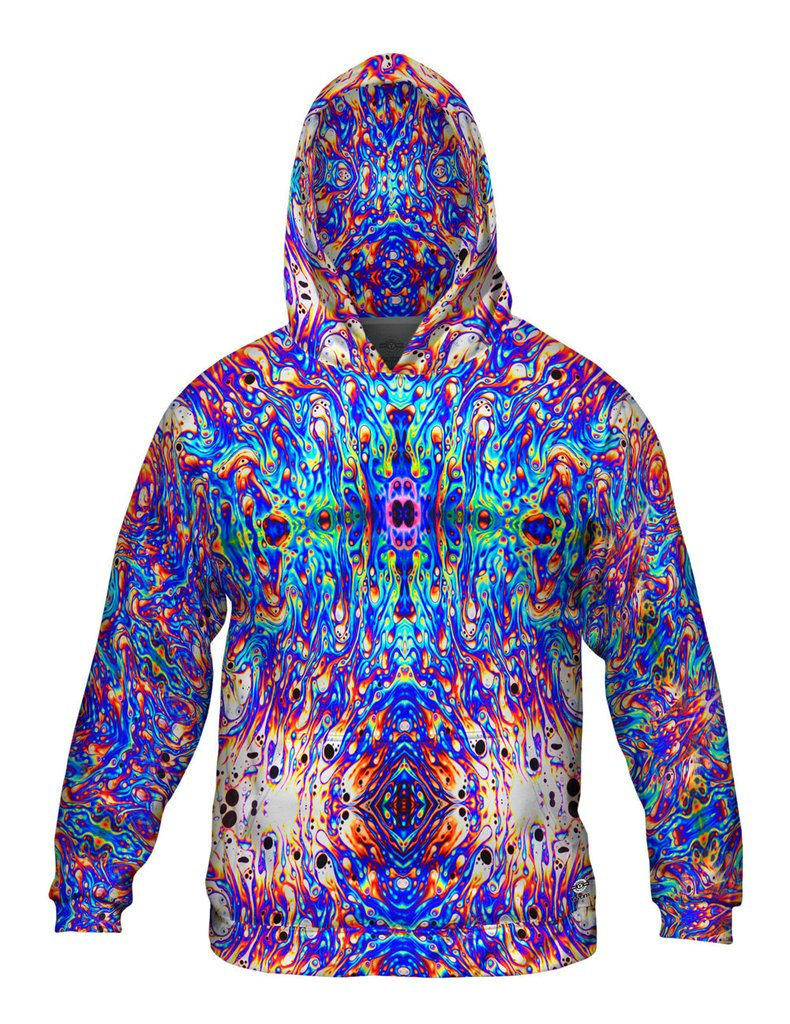 Psychedelic Neon Soap Party Violet Mens Hoodie