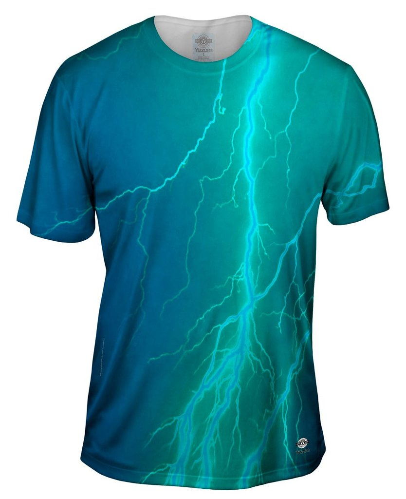 Lightning Storm Blue Torquoise Mens T-Shirt