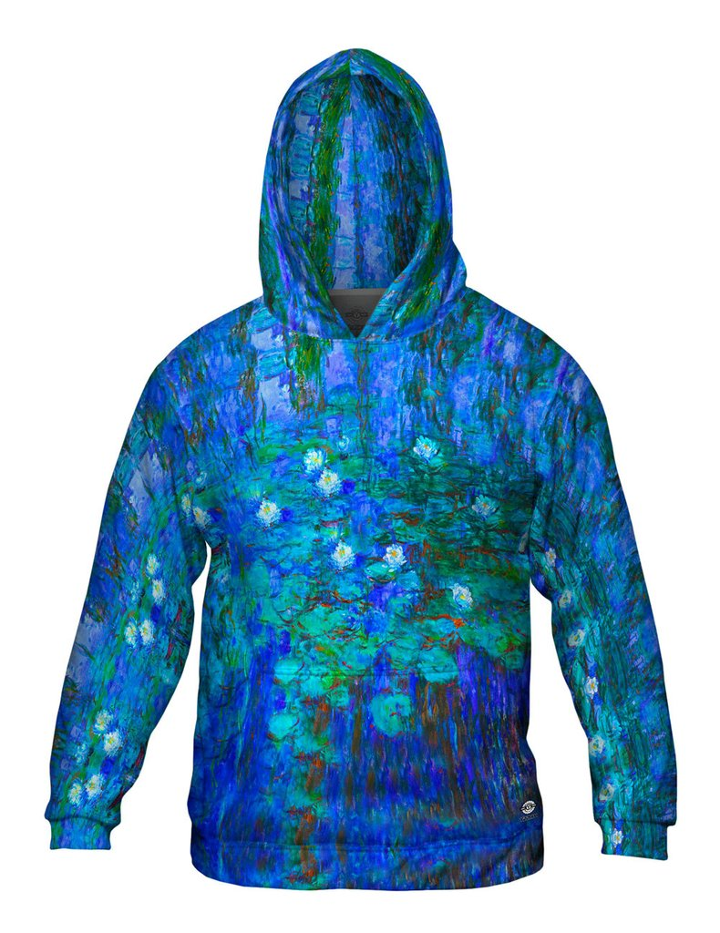 Claude Monet Blue Water Lilies Mens Hoodie