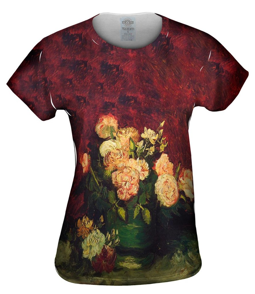 Van Gogh Bowl With Roses Womens Tshirt