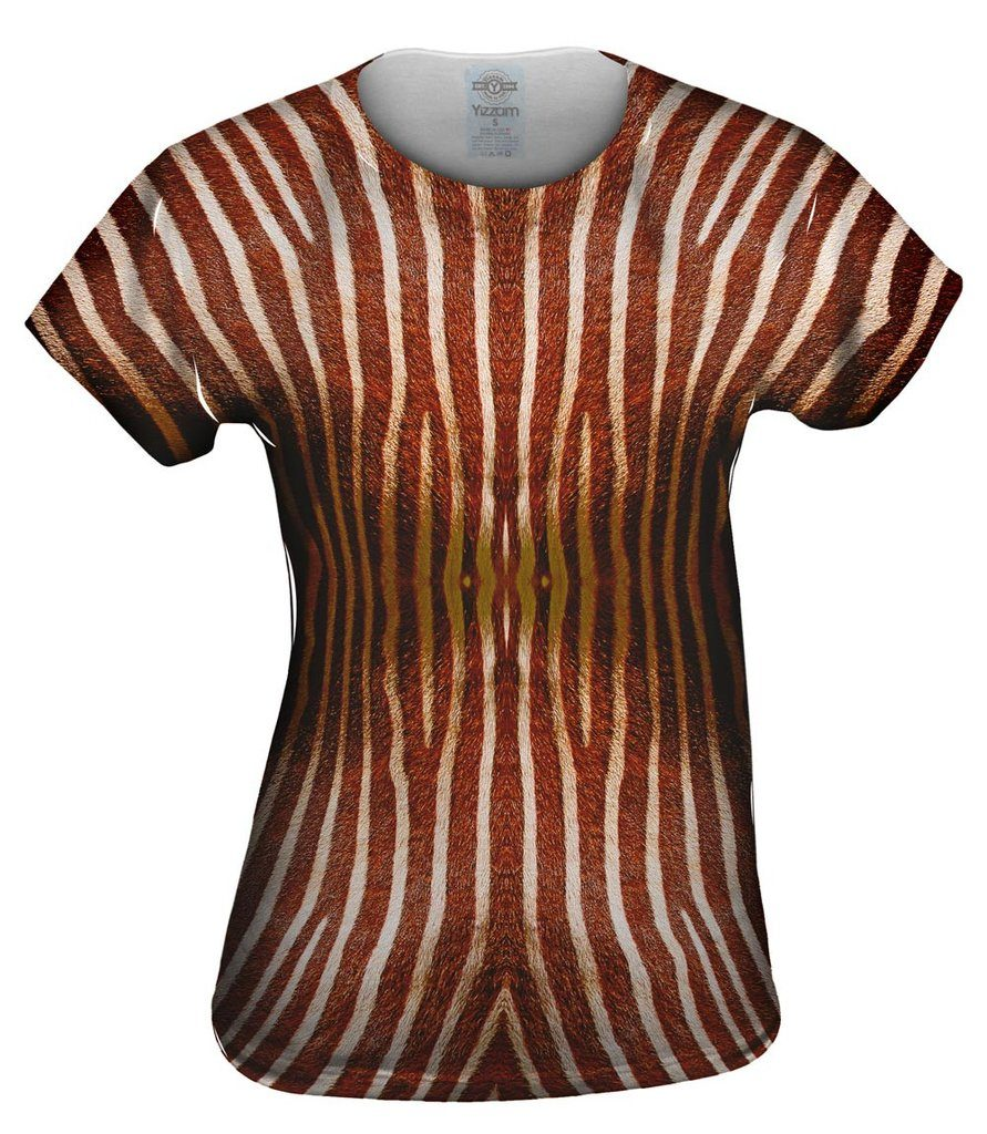 Brown Zebra Stripes Womens Tshirt