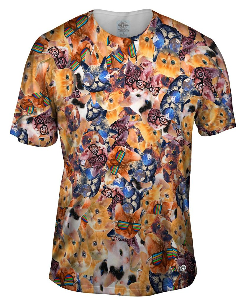 Hipster Cat Collage Mens Tshirt