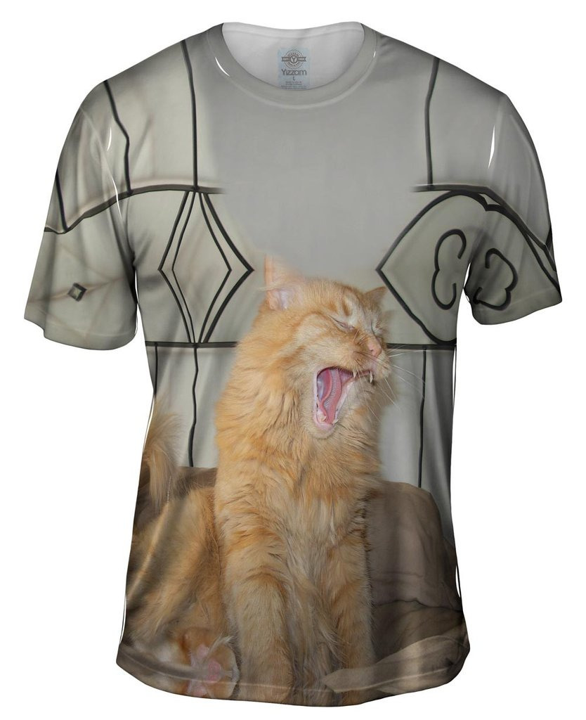 Yawning White Cat 2014 mens tshirt