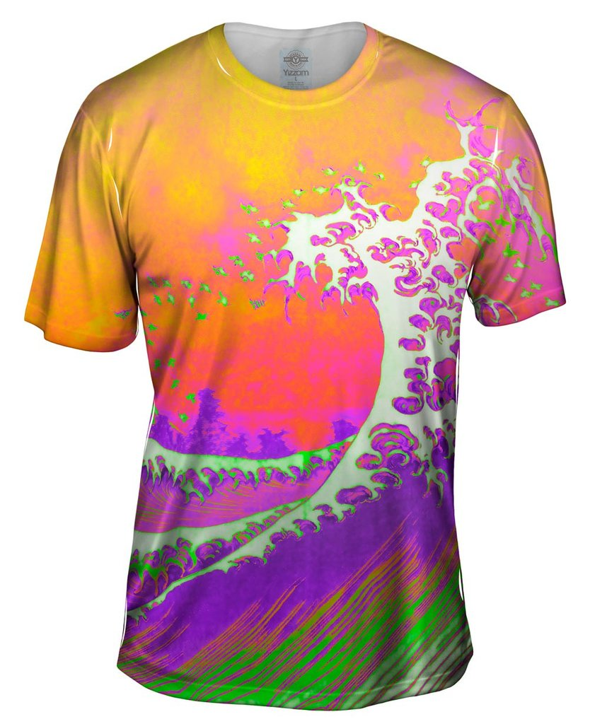 Pop Art Wave Orange Purple Mens Shirt