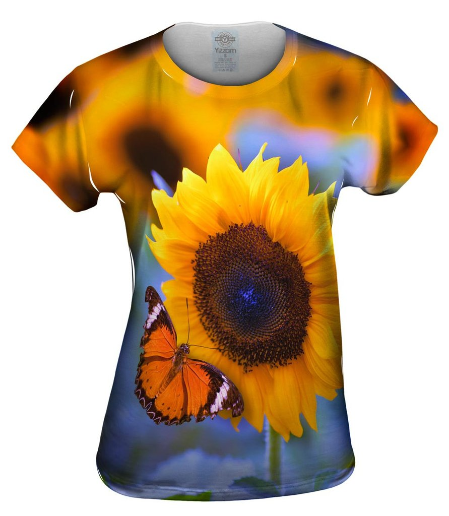 Sunflower Butterfly Womens Tshirt