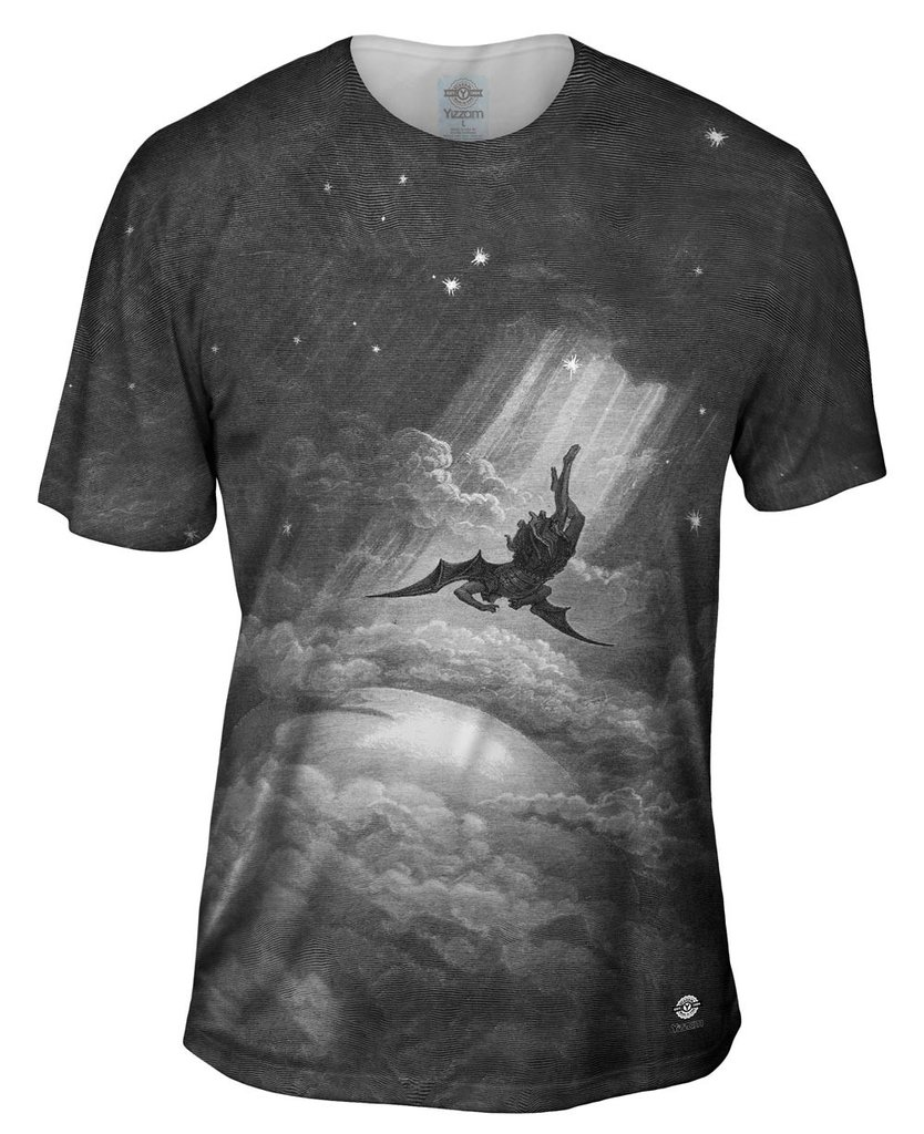 "Gustave Dore - ""Paradise Lost Fall to Earth"" Mens T-Shirt"