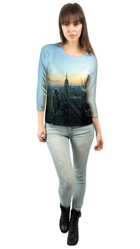 Empire State New York Sunset Womens three quarter sleeve