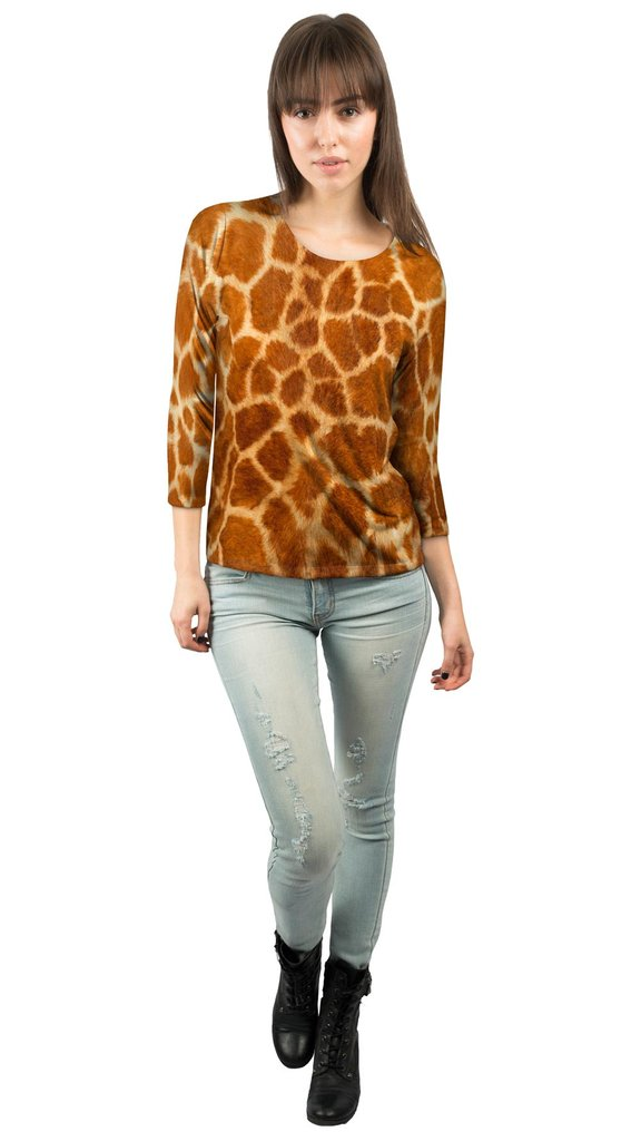 Womens Three Quarter Sleeve Giraffe Skin