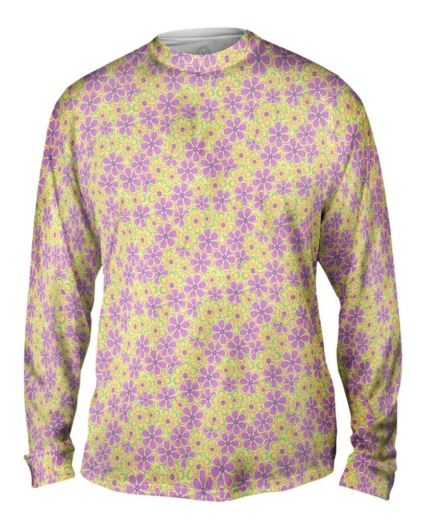 Flower Garden Purple Green Mens Long Sleeve