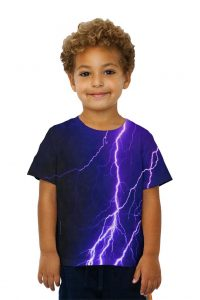 Kids Violet Lightning Storm Kids T-Shirt Thunder and lightning often fascinate children. They can't explain it and it can be a little scary at times, but it's all part of the excitement and thrill. Now the epic lightshow can be theirs even on the sunniest of days with this all over print kids violet lightning storm kids t-shirt.